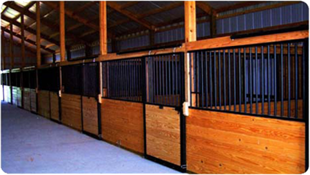 Horse stall systems and doors for 2 stall horse barn kits